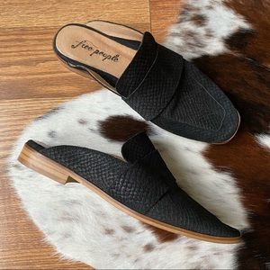 Free People Black Leather At Ease Mules 38